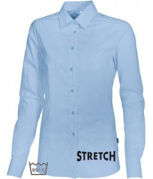 Chemisier bleu clair manches longues, Stretch liberté de mouvement, peut bouillir