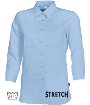 Chemisier Bleu clair manches 3-4, Stretch liberté de mouvement, peut bouillir