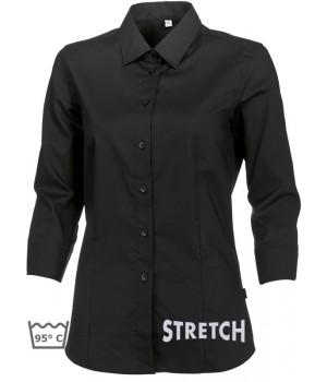 Chemisier Noir manches 3-4, Stretch liberté de mouvement, peut bouillir