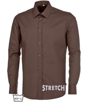 Chemise chocolat homme manches longues,Stretch liberté de mouvement