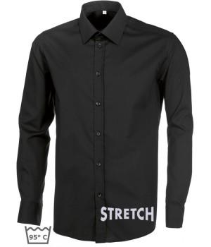 Chemise noire homme manches longues, Stretch liberté de mouvement