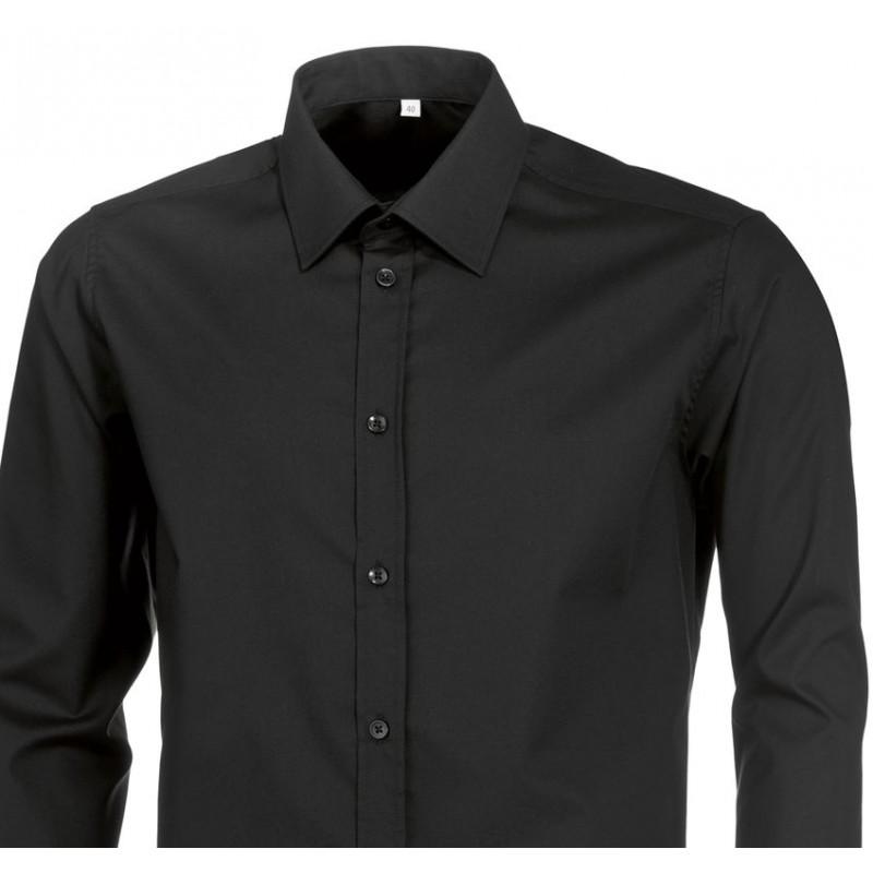 chemise noire homme manches longues stretch peut bouillir. Black Bedroom Furniture Sets. Home Design Ideas