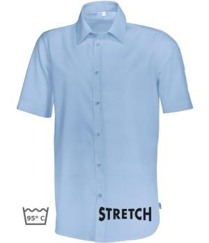 Chemise bleu clair homme Manche courte, Stretch liberté de mouvement, Entretien facile, peut bouillir
