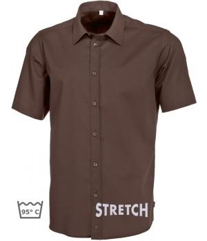Chemise marron chocolat homme Manche courte, Stretch liberté de mouvement