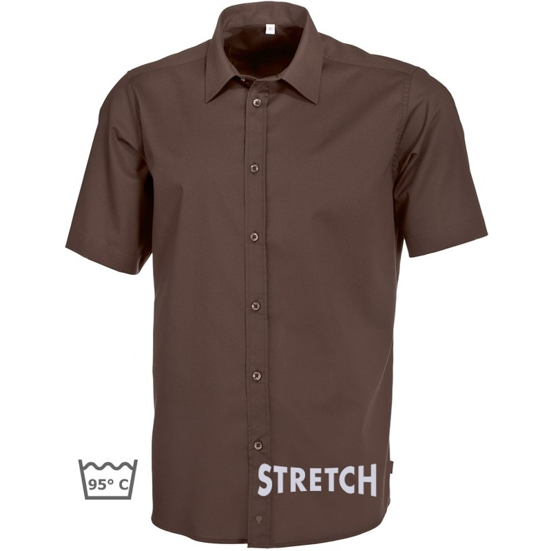 chemise marron chocolat homme manches courtes stretch. Black Bedroom Furniture Sets. Home Design Ideas