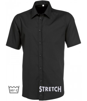 Chemise noire homme Manche courte, Stretch liberté de mouvement, Entretien facile, peut bouillir