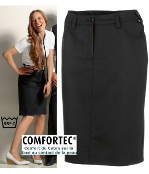 Jupe noire, Longueur 55 cm, Comfortech-Stretch, entretien facile, peut bouillir