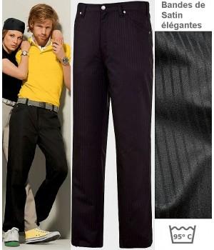 Pantalon Jean Noir homme, 5 poches, Renfort fessier