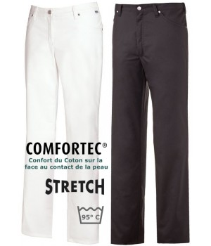 Pantalon Jean homme, 5 poches, Rivets, Renfort fessier