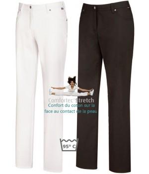 Pantalon femme, Coupe 5 poches, avec surpiqûre décorative, Rivets, peut bouillir
