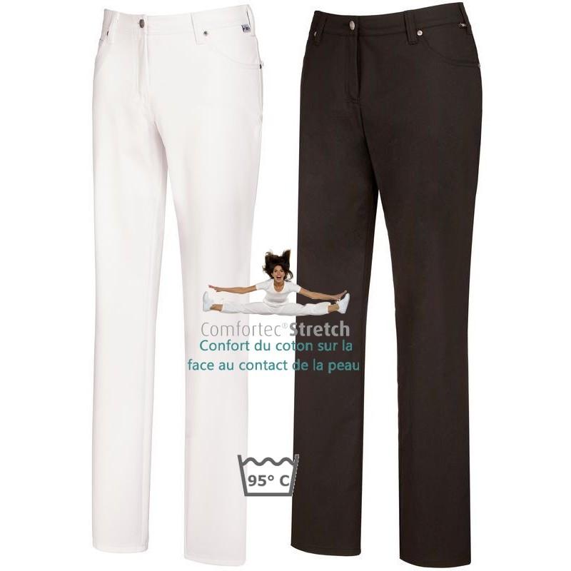 Pantalon femme, Coupe 5 poches, avec surpiqûre décorative, Rivets, peut  bouillir 1b230d4e91bd
