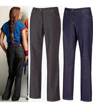 Pantalon Jean femme Denim, Coupe 5 poches, avec surpiqûre décorative, Rivets