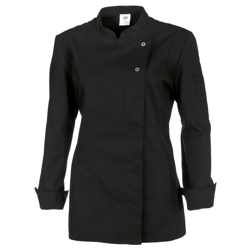 veste de cuisine femme manches longues peut bouillir noir. Black Bedroom Furniture Sets. Home Design Ideas