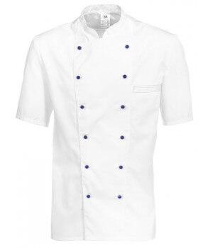 Veste chef de cuisine, manches courtes, peut bouillir, Blanc, Polycoton