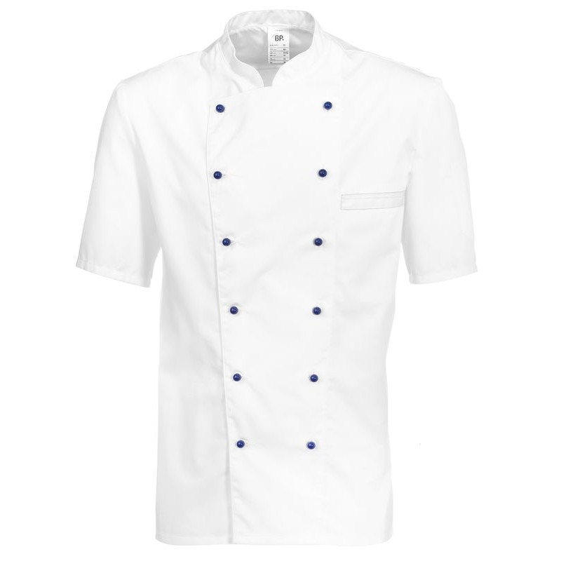 veste chef de cuisine manches courtes peut bouillir blanc polycoton. Black Bedroom Furniture Sets. Home Design Ideas