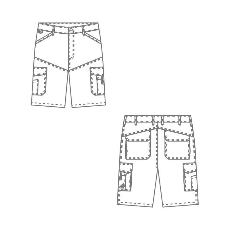 bca8805bbce13 ... Anneau D accessoires nombreuses poches Noir · Schéma short travail homme