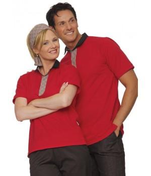 Polo rouge pour femme ou homme, habillé et élégant, Fermeture boutons-pression, Col revers et patte en tissu chaîne