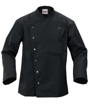 Veste de cuisine Noire, Confortable et durable, Bouton-pression, Poche poitrine à gauche, Manches retroussables