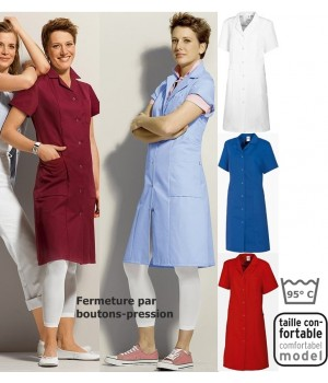 Blouse de travail femme polyester coton, tissu thermofixé, peut bouillir