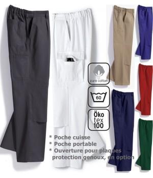 Pantalon de travail homme, 100% coton, irrétrécissable, élastique au dos