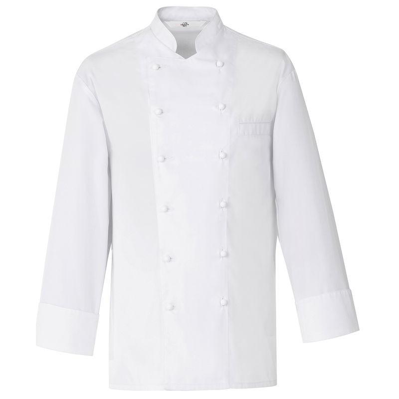 Veste de cuisine boulanger coutures viennoises blanc col for Veste de cuisine col mof