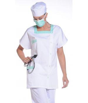 Tunique femme blanc - vert, taille 2XL, tissu piqué