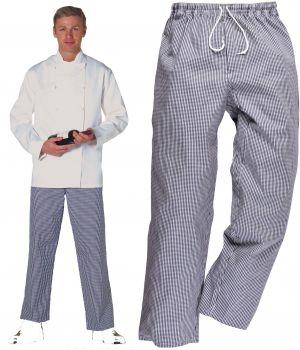 Pantalon de cuisine carreaux blanc et bleu, style jogging