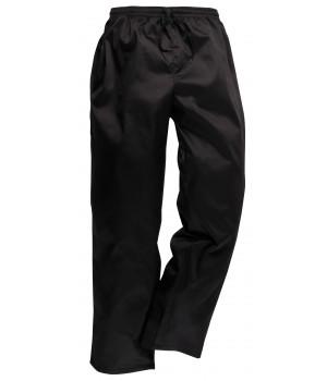 Pantalon de Cuisine Noir, Ceinture élastiquée et Cordon de serrage