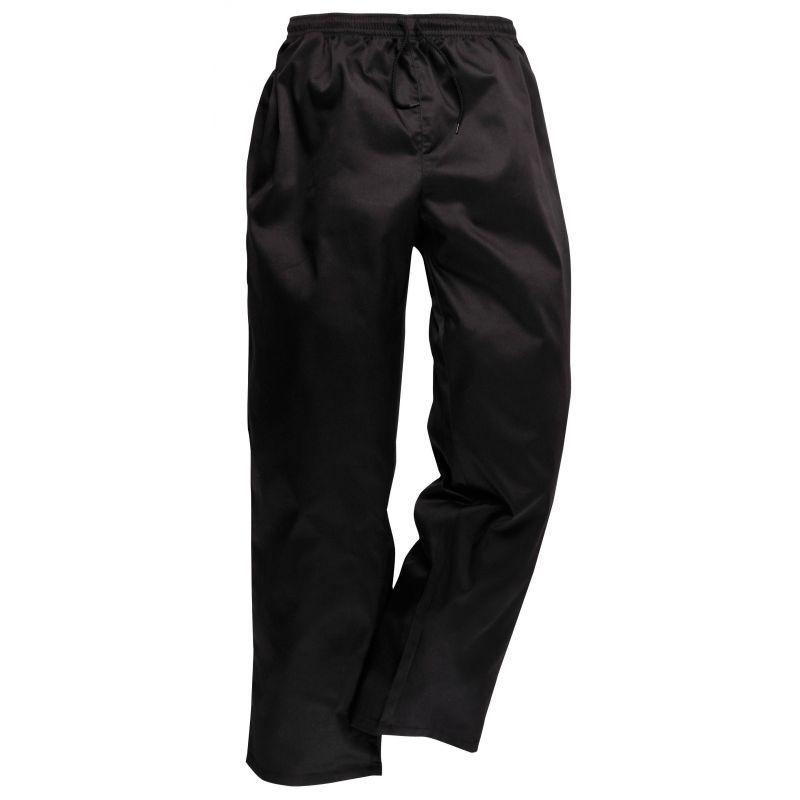 Pantalon de cuisine noir ceinture lastiqu e et cordon de for Pantalon cuisine noir