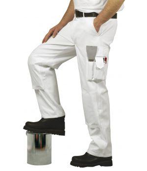 Pantalon homme de peintre 100% coton, blanc