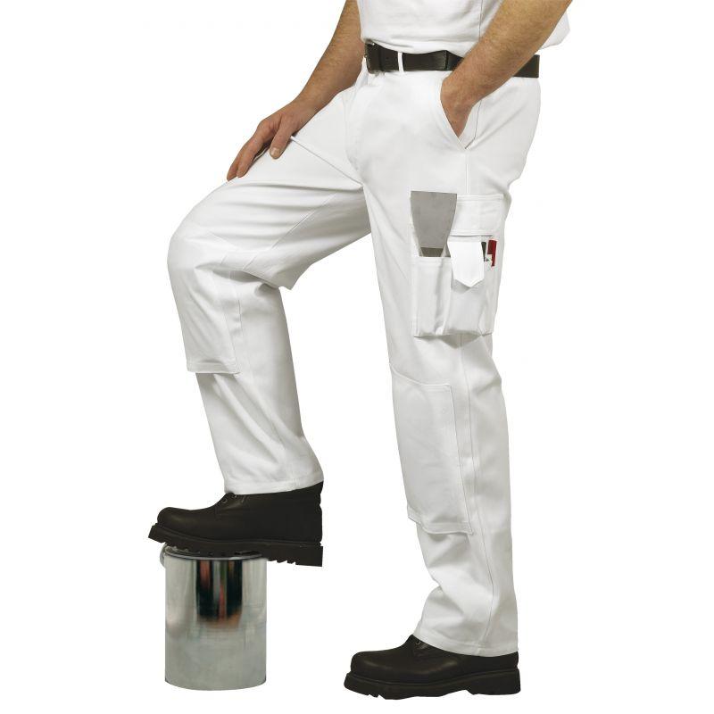 pantalon homme de peintre 100 coton blanc. Black Bedroom Furniture Sets. Home Design Ideas