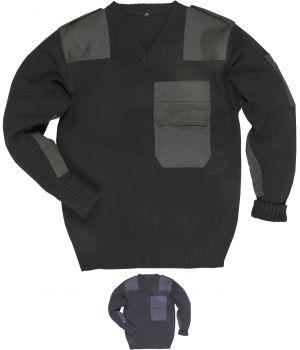 Pull acrylique stylé et bien taillé, Renforts en polycoton, marine