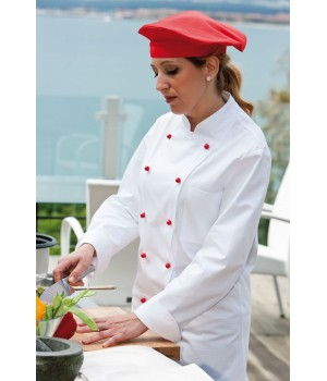 Veste de cuisine femme, Col officier, Poche poitrine, 100% coton