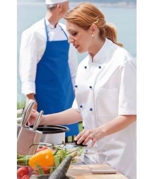 Veste de cuisine femme, manches courtes, Col officier, Poche poitrine, 100% coton