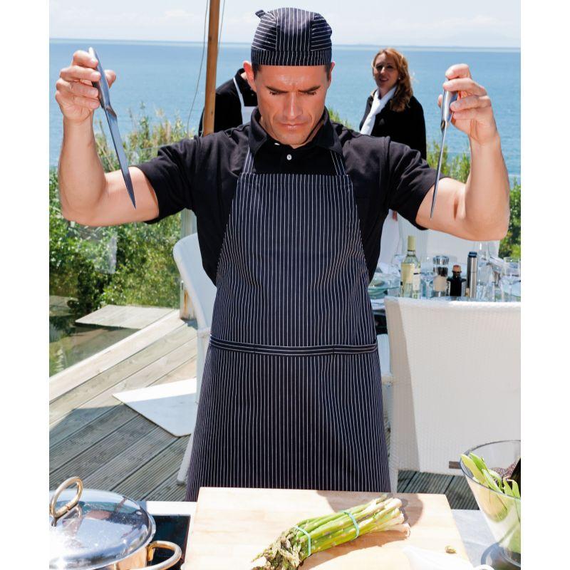 Tablier cuisine bavette rayures troites noir blanc coton for Tablier blanc de cuisine