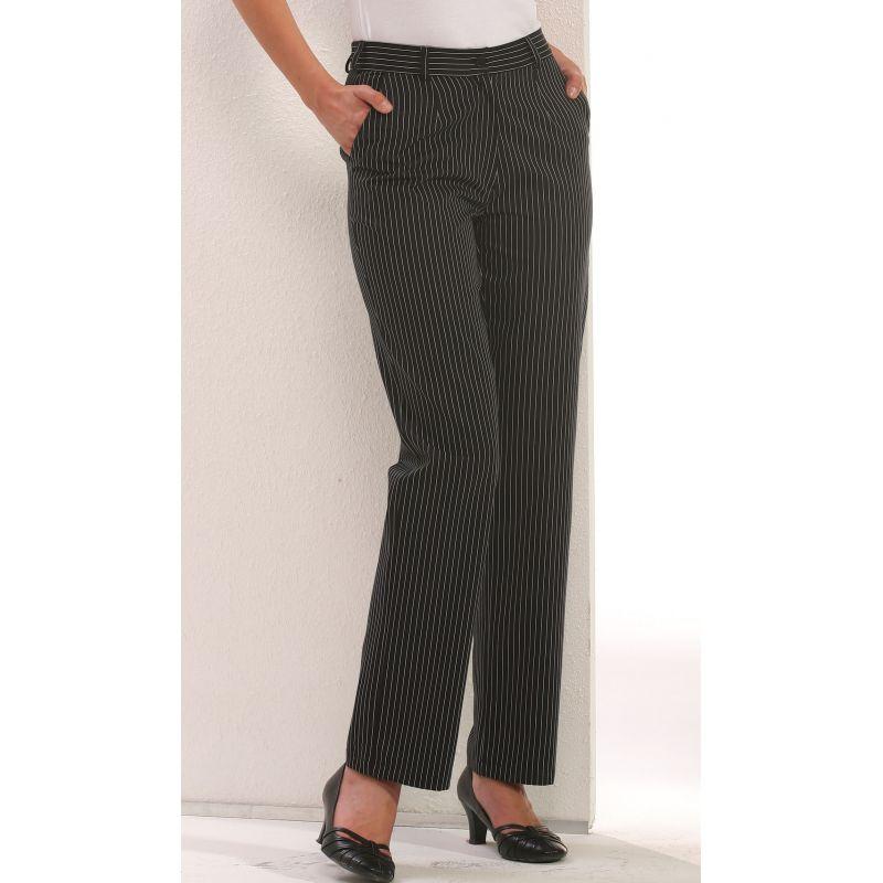 Pantalon de cuisine dame rayures noir et blanc for Pantalon de cuisine noir
