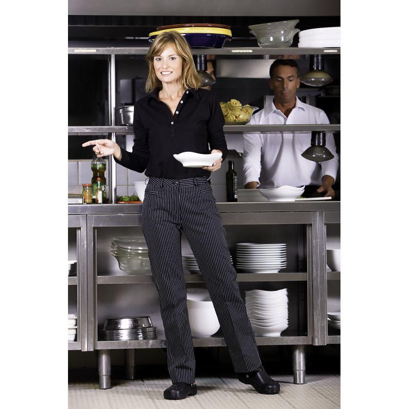 pantalon de cuisine dame rayures noir et blanc. Black Bedroom Furniture Sets. Home Design Ideas