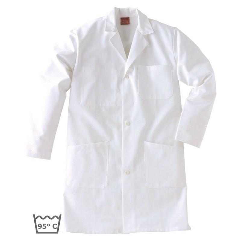 blouse de travail nombreuses poches coton adolphe lafont blanc. Black Bedroom Furniture Sets. Home Design Ideas