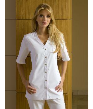 Tunique blanche pour femme 3 poches, peut bouillir à 95 °C