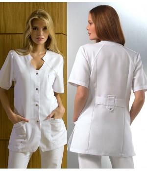 Tunique Blanche Femme manches courtes, Tencel et polyester