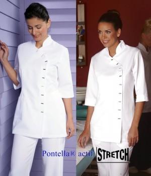 Tunique femme manches 3/4, Entretien facile, Polyester Toray, Blanc
