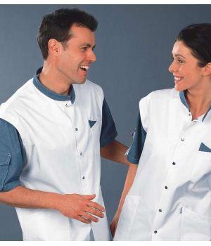 Tunique médicale femme et homme manches courtes, boutons pression inox