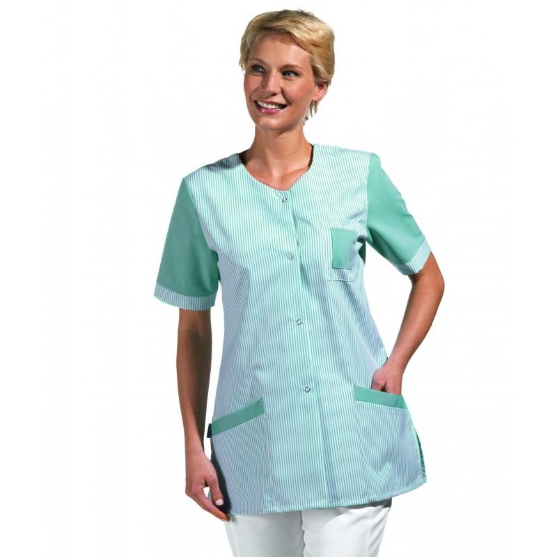 blouse tunique travail femme manche courte ray couleur blanc. Black Bedroom Furniture Sets. Home Design Ideas