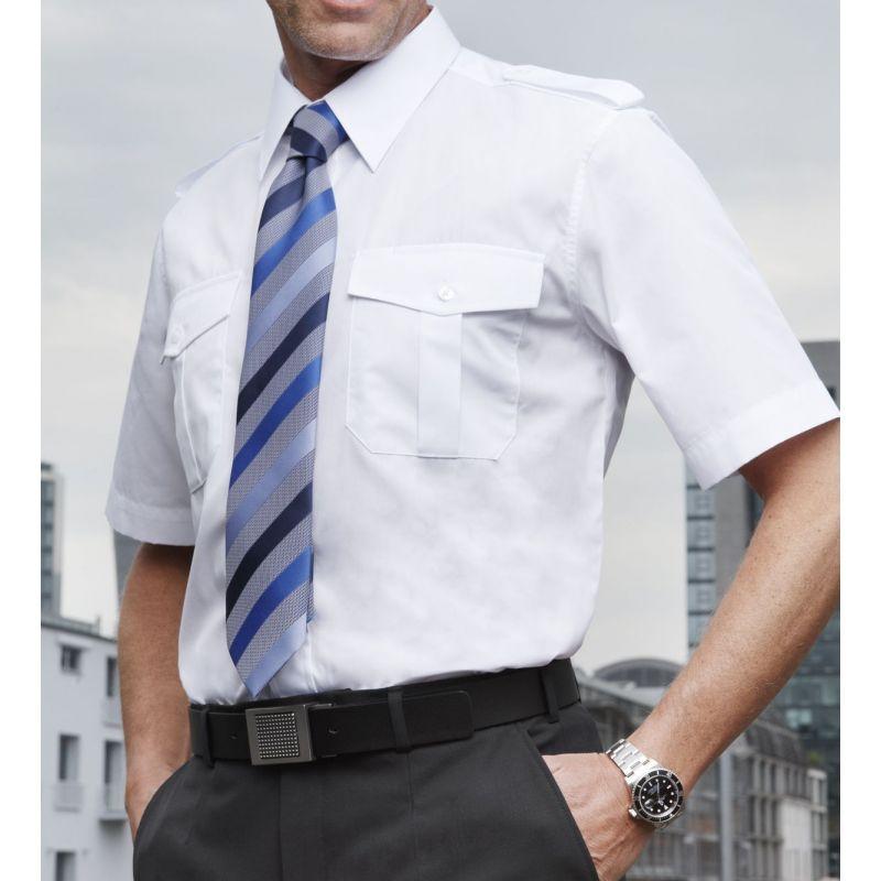chemise homme pilote manches courtes epaulettes blanche. Black Bedroom Furniture Sets. Home Design Ideas