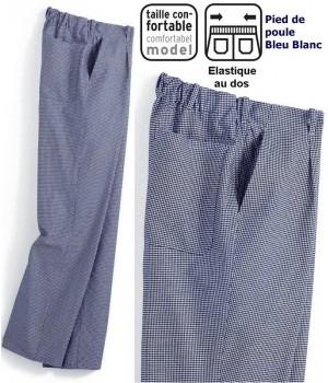 Pantalon cuisine Homme  pied de poule bleu-blanc Elastique au dos