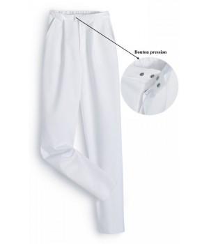 pantalon blanc femme taille normale polyester coton, peut bouillir à 95 °C