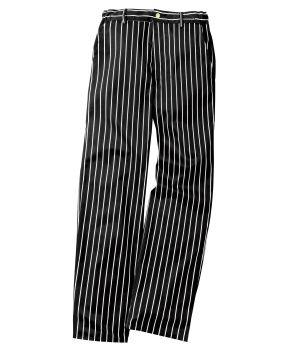 Pantalon cuisine noir-rayé blanc, Ceinture élastiquée, Adolphe Lafont.