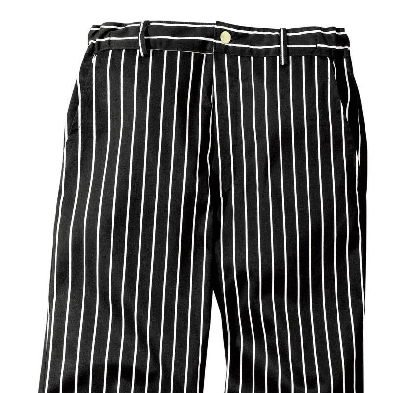 Pantalon cuisine blanc ray noir ceinture lastiqu e a lafont for Pantalon de cuisine noir