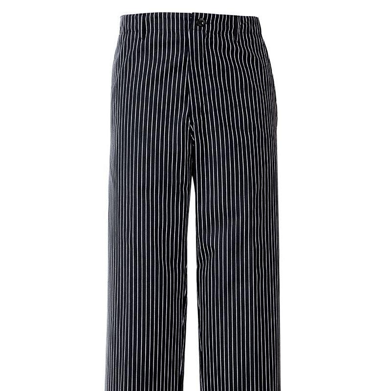 Pantalon de cuisine rayures noir blanc 1 poche arri re for Pantalon cuisine noir