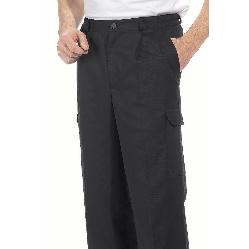 Pantalon cargo homme polycoton noir 6 poches entretien for Pantalon cuisine noir